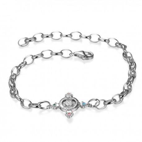 Schutzkreuz 18mm Silber 925 mit Energiekreis als Armband NEU